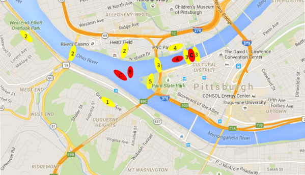 Pittsburgh Fireworks Map
