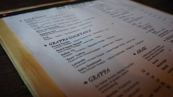 Grapperia's Cocktail Menu