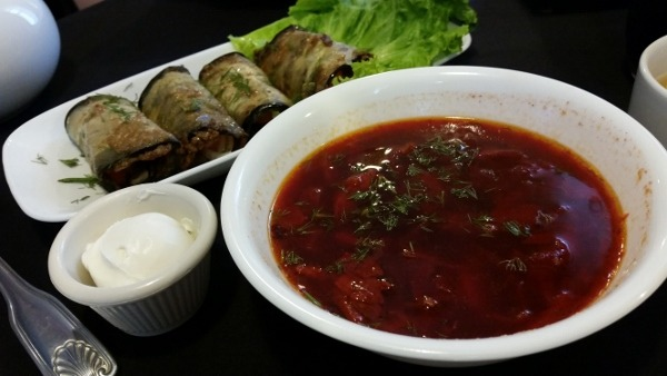 Borscht and Eggplant Rolls at Kavsar