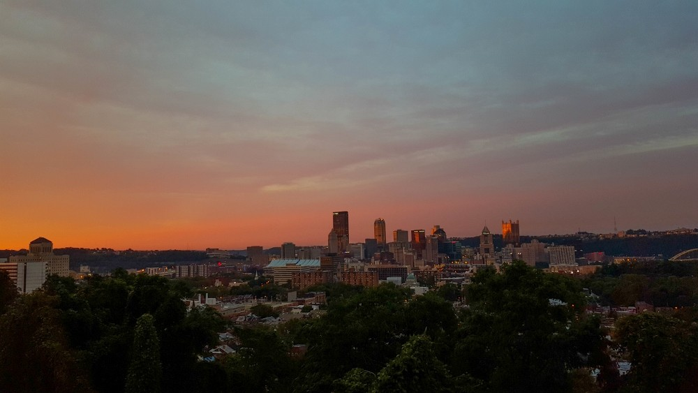 A fire-red sunrise from the North Side in Pittsburgh