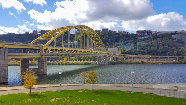 Fort Pitt Tunnel and Fort Pitt Bridge from the Fort Pitt Museum