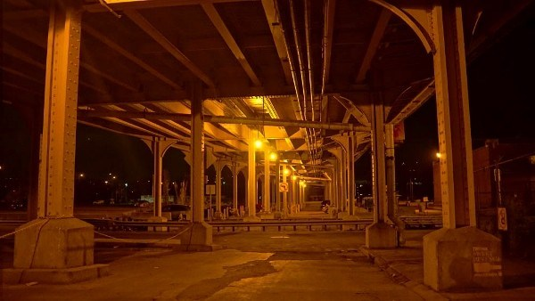 Under the Strip District Bridge at Night