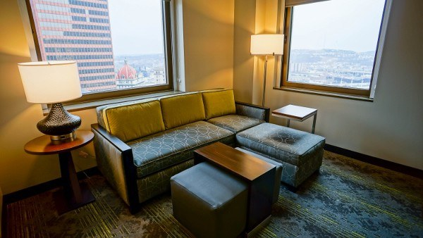 Living Area at Embassy Suites Downtown Pittsburgh