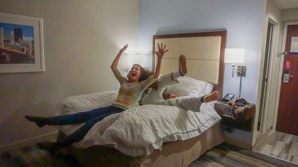 Testing the Bed at the Hampton Inn Pittsburgh University
