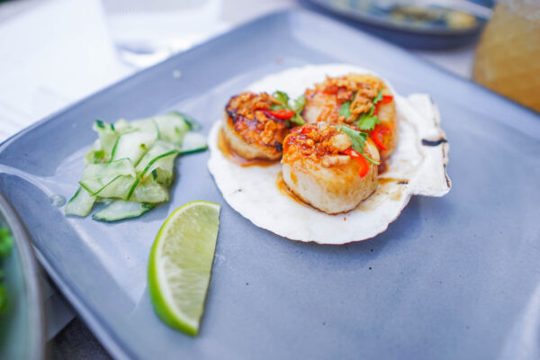 Grilled Scallops and Spicy Sauce