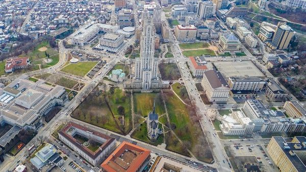 Cathedral of Learning from a Helicopter