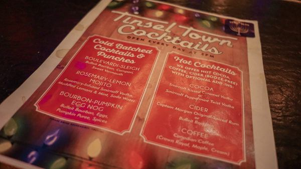 Tinsel Town Cocktail Menu