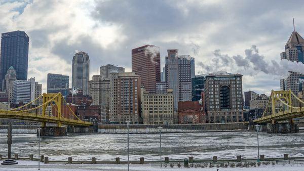 Pittsburgh's Frozen Rivers Between the Warhol and Clemente Bridges