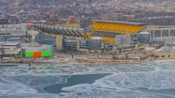 Heinz Field and an icy Ohio River