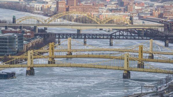 The sister bridges on ice.