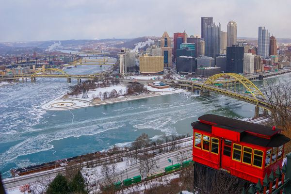 Duquesne Incline and the 3 rivers in rivers