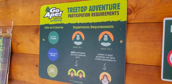 Rules for Go Ape North Park
