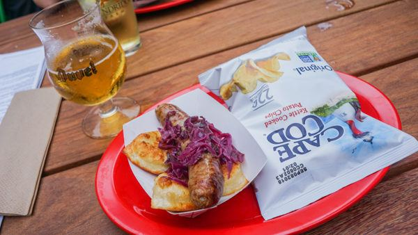 Bratwurst at the beer garden at Hotel Monaco