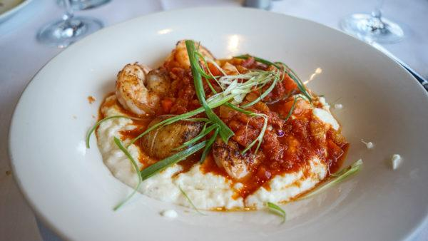Shrimp, grits, and scallops at Monterey bay