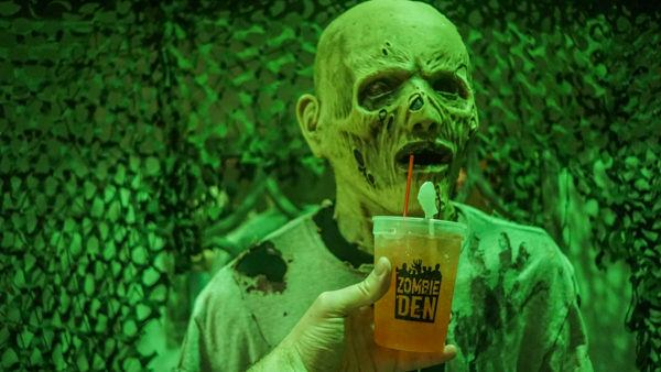 Drinking with my pals at the Zombie Den bar