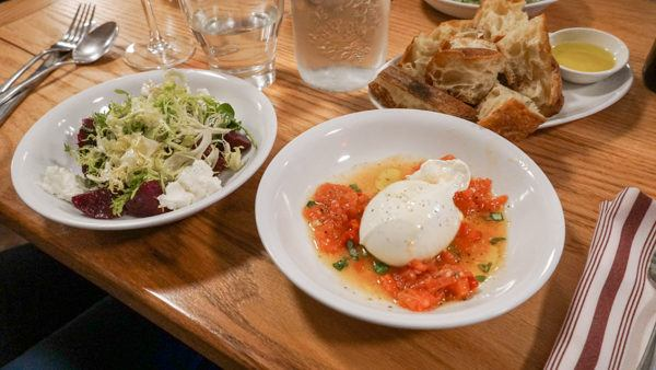 Salad and Burrata at LeoGreta
