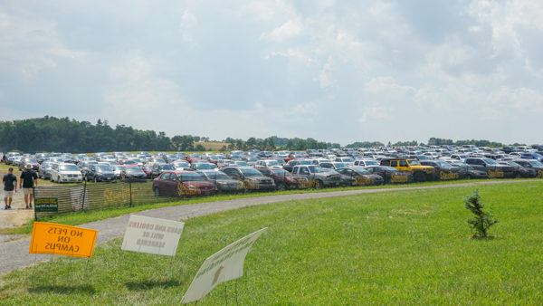 Parking at Saint Vincent College for Training Camp