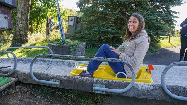Angie's first Alpine Slide ride.