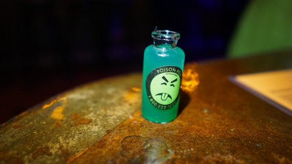 Cyanide shot with Mr Yuk sticker
