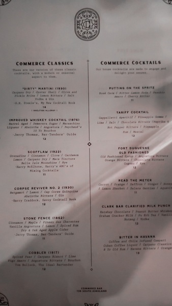 Commerce Bar Menu