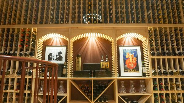 The altar has been replaced with a wine cellar.