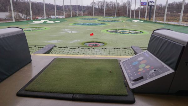 The bay at Topgolf.