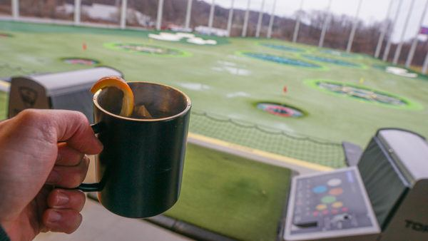 Nothing beats a hot cocktail and heated bay while golfing in winter.