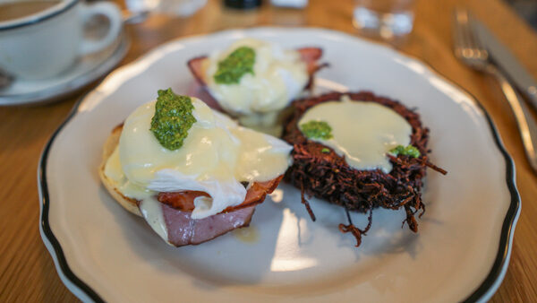 Whitfield Breakfast - eggs benedict with potato and beet rosti