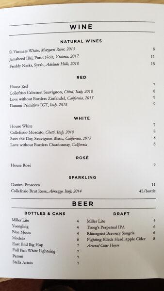 Wine and Beer Menu at Emerson's Bar