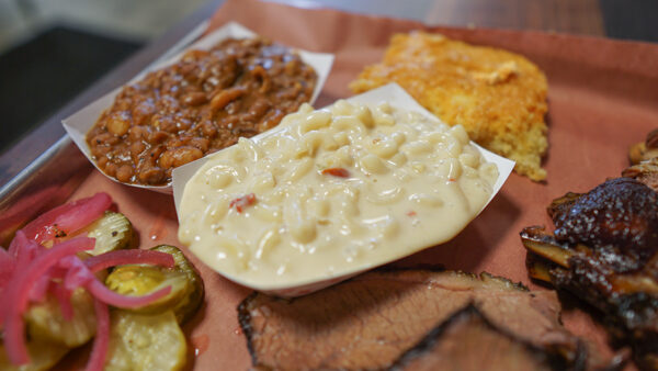 Mac and Cheese, Baked Beans, and Cornbread from Big Rig's BBQ