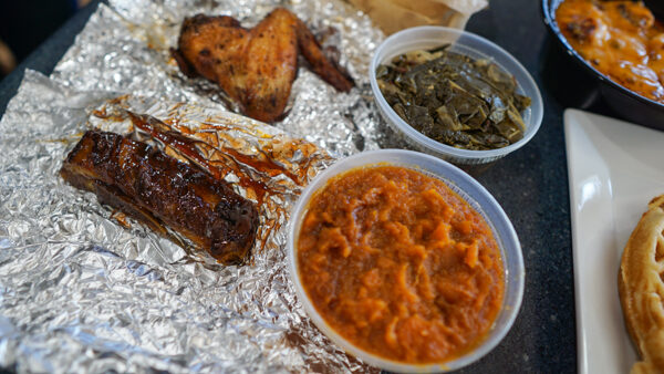 Single Rib, Chicken wing, and Sides from Carmi's