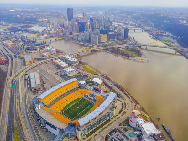 Heinz Field and Pittsburgh from the Air
