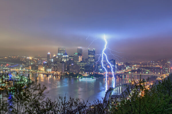 Lightning strikes the Monongahela River in Pittsburgh during a spring storm