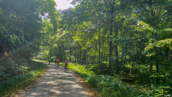 Biking towards Trafford on the Westmoreland Heritage Trail