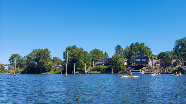 Verona from the water with kayakers