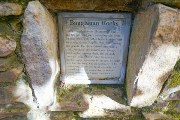 Sign about Baughman Rocks at Mount Davis