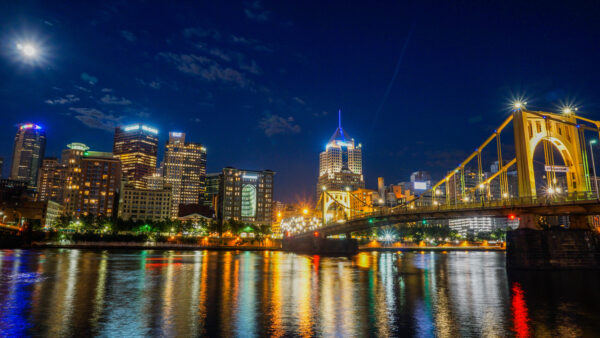 Clemente Bridge and Downtown Pittsburgh