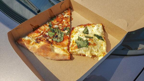 Caprese and Cacio e Pepe Slices from Rockaway Pizzeria