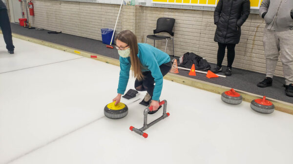 Angie Practicing Curling at the Pittsburgh Curling Club