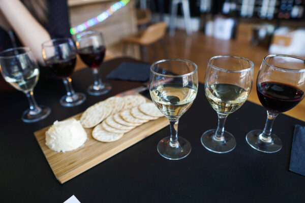 Wine Flight and Cheese Spread at 23rd & Vine