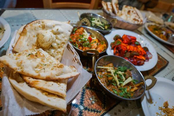 Kabab & Curry Entree Spread and Garlic Naan