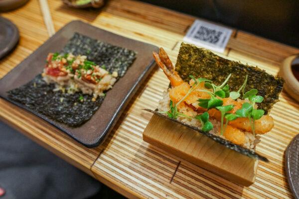 Open Faced Rolls - Foie Gras Tuna and Tempura Shrimp