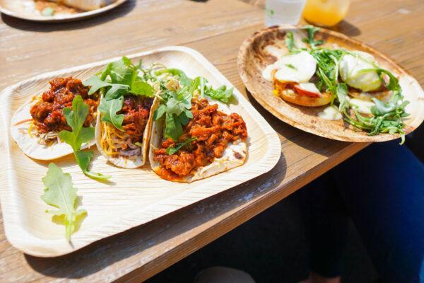 Tacos and Eggs Benedict at Brunch at Quantum Spirits