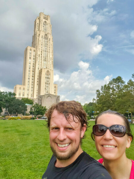 Sweaty PedalPGH Ride in Front of the Cathedral of Learning