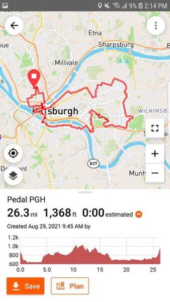PedalPGH App Route