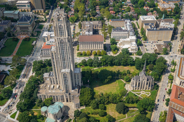 Cathedral of Learning and Heinz Chapel from Above
